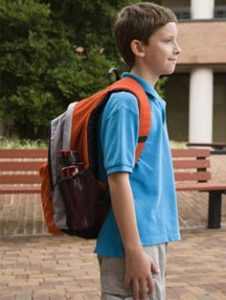 The strain placed on children's posture by heavy bags.