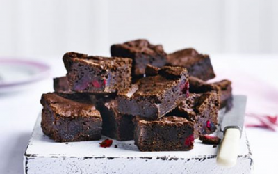 Vegan cherry and almond brownies